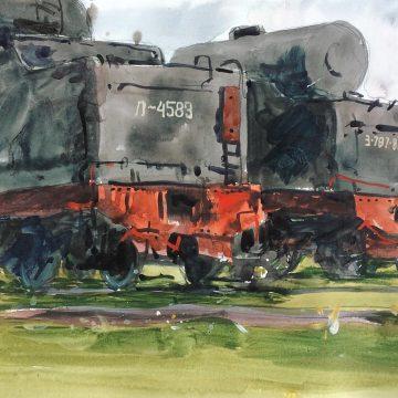 Паровозы Л-4583 и З-787-81 на кладбище паровозов