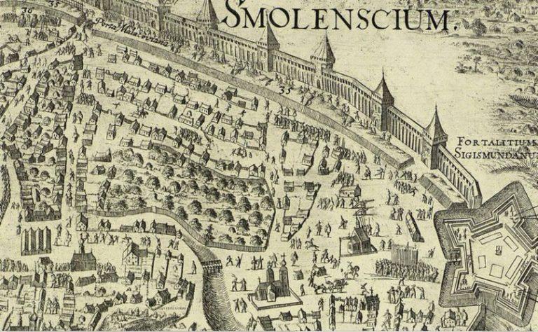 Первое детальное изображение Смоленска — гравюра Вильгельма Гондиуса об осаде города войском Шеина в 1633-34 годах