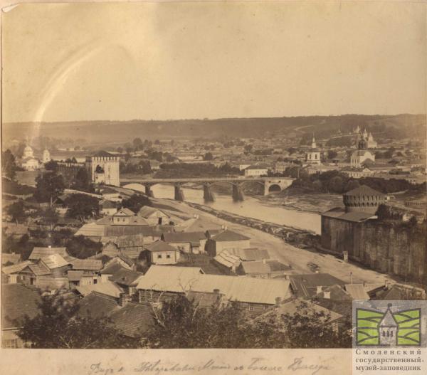 Вид на новый мост с башни Веселуха (ныне от моста остались только опоры)