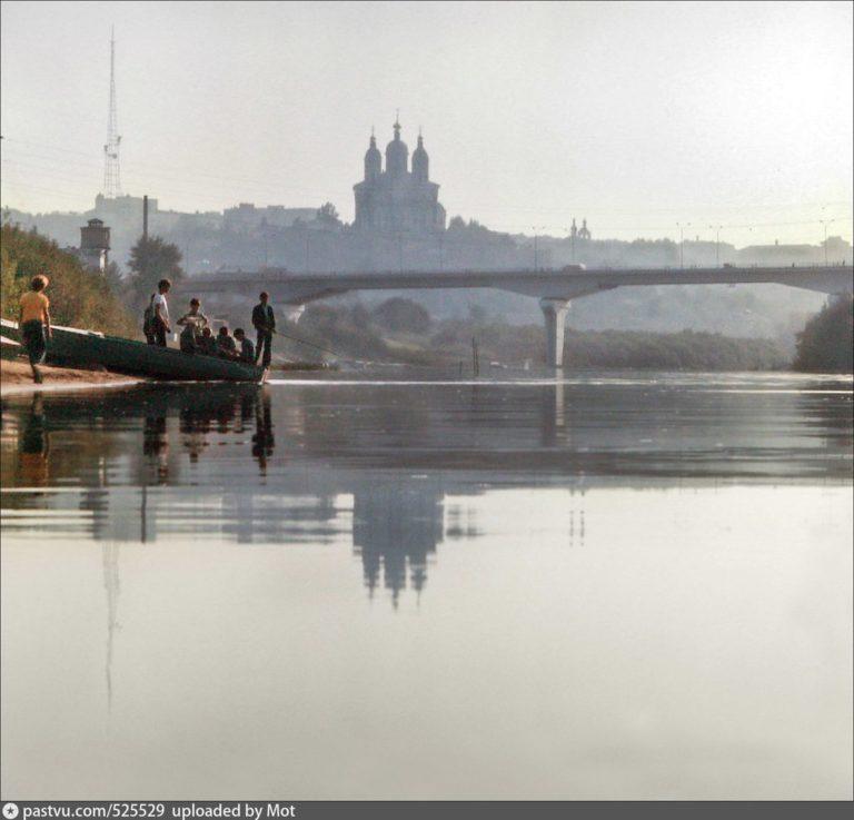 Днепр, первый мост (ул. Степана Разина), панорама города, 1978-1985