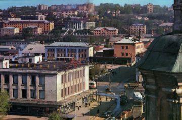Улица Беляева с высоты, начало 1970-х, весна