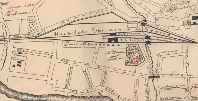 Оба вокзала на плане города Смоленска от 1898 года