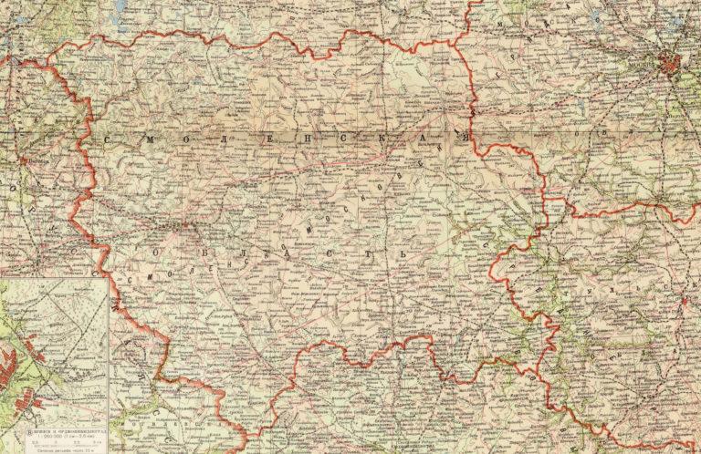 Карта Смоленской области, 1939 год