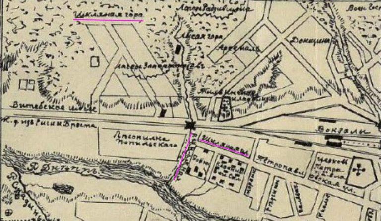 Шкляная гора, речка и улица (по И.И. Орловскому, 1905 г.)